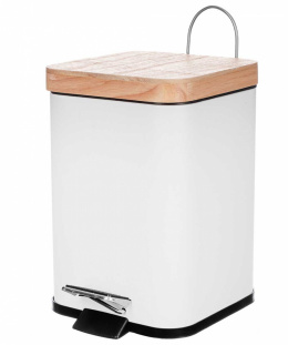 STEEL TRASH CAN 3L WITH BAMBOO COVER 1131