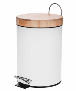 STEEL TRASH CAN 3L WITH BAMBOO COVER 1134