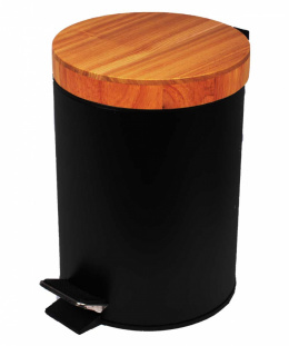 STEEL TRASH CAN 3L WITH BAMBOO COVER 1133