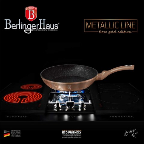 SET OF 3 GRANITE PANS 20/24/28CM BERLINGER HAUS METALLIC LINE ROSE GOLD BH-1278